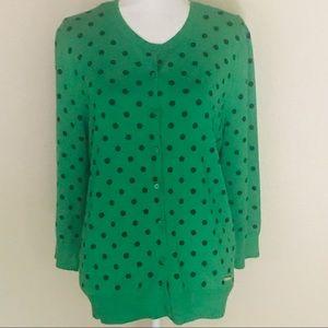 Ellen Tracy Women's Green /Navy Polka Dot Cardigan